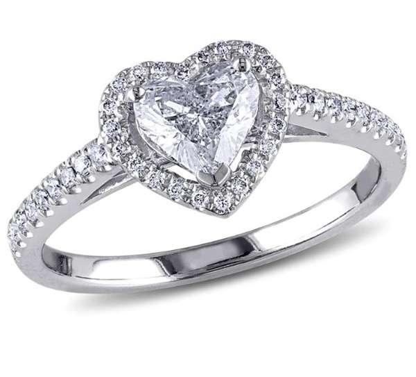 แหวนเพชรแต่งงานรูปหัวใจเพชรรอบ